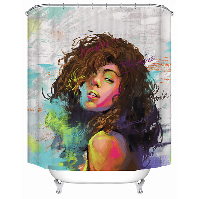 Oil Painting Fashion Woman Shower Curtains & Hooks Modern Polyester New Design