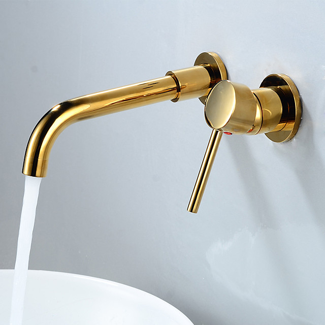 Bathroom Sink Faucet - Rotatable / Wall Mount Nickel Brushed Wall Installation Single Handle One HoleBath Taps