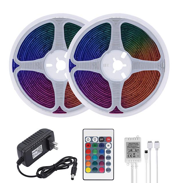 MASHANG 32.8ft 10M LED Strip Lights RGB Tiktok Lights Waterproof 600LEDs SMD 2835 with 24 Keys IR Remote Controller and 100-240V Adapter for Home Bedroom Kitchen TV Back Lights DIY Deco