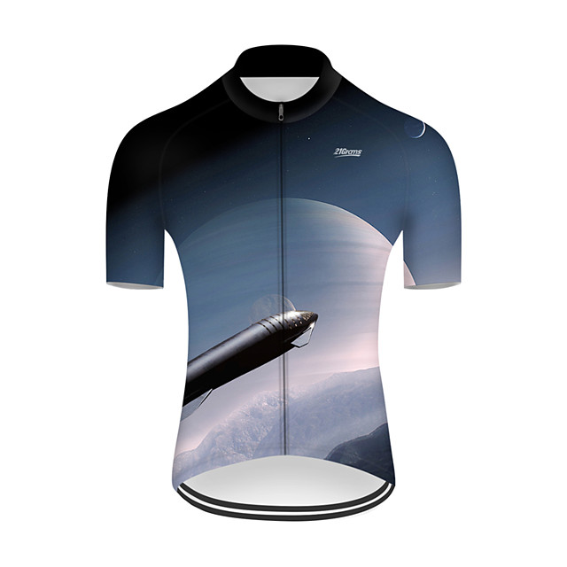 21Grams Men's Short Sleeve Cycling Jersey Nylon Polyester Blue / White 3D Gradient Rocket Bike Jersey Top Mountain Bike MTB Road Bike Cycling Breathable Quick Dry Ultraviolet Resistant Sports