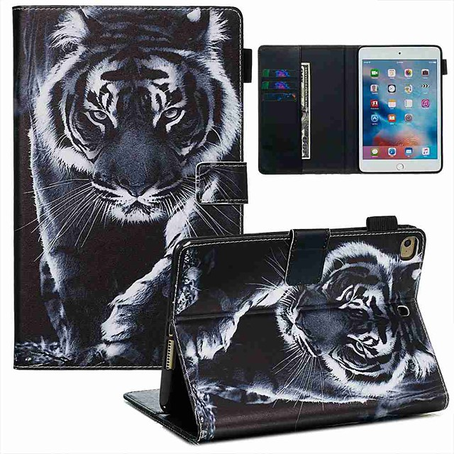 Case For Apple iPad Mini 3/2/1 / iPad Mini 4 / iPad Mini 5 Wallet / Card Holder / with Stand Full Body Cases Black and White Tiger PU Leather / TPU