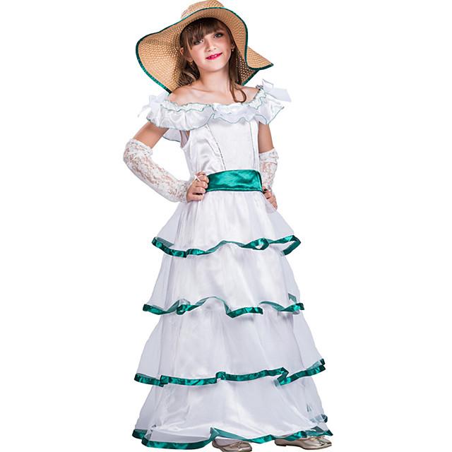Cinderella Princess Outfits Flower Girl Dress Girls' Movie Cosplay A-Line Slip White Dress Gloves Hat Children's Day Masquerade Polyester