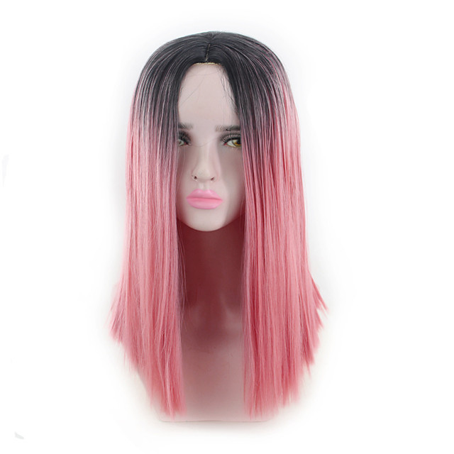 Synthetic Wig Straight Middle Part Wig Long Black / Pink Synthetic Hair 16 inch Women's Soft Party Classic Black Pink