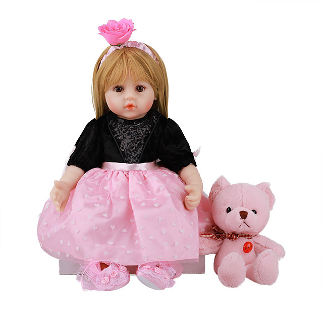 FeelWind 18 inch Reborn Doll Baby & Toddler Toy Reborn Toddler Doll Baby Girl Gift Cute Lovely Parent-Child Interaction Tipped and Sealed Nails Full Body Silicone with Clothes and Accessories for