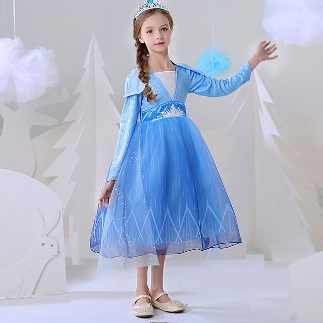 Princess Elsa Dress Flower Girl Dress Girls' Movie Cosplay A-Line Slip Blue Dress Carnival Children's Day Masquerade Polyester