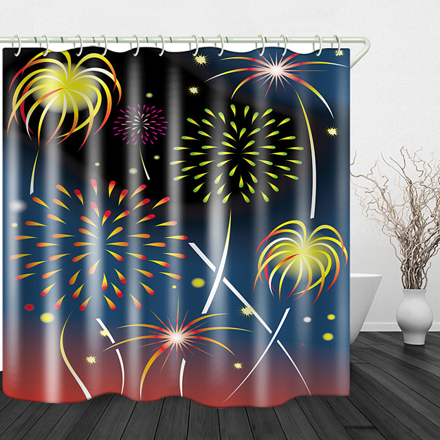 Painted Beautiful Fireworks Digital Print Waterproof Fabric Shower Curtain for Bathroom Home Decor Covered Bathtub Curtains Liner Includes with Hooks