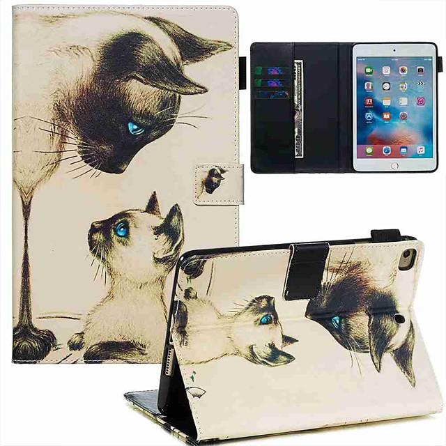 Case For Apple iPad Mini 3/2/1 / iPad Mini 4 / iPad Mini 5 Wallet / Card Holder / with Stand Full Body Cases Cat PU Leather / TPU