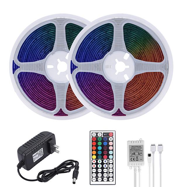 32.8ft 10M LED Strip Lights RGB Tiktok Lights Waterproof 600LEDs SMD 2835 with 44 Keys IR Remote Controller and 100-240V Adapter for Home Bedroom Kitchen TV Back Lights DIY Deco