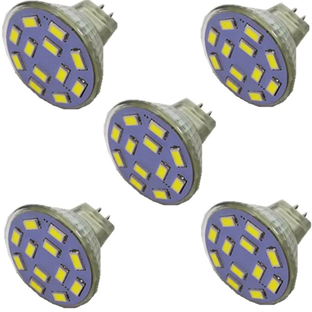 5pcs 2 W LED Spotlight 300 lm MR11 12 LED Beads SMD 5730 Warm White Natural White White 9-30 V