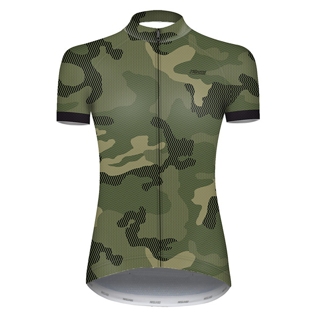 21Grams Women's Short Sleeve Cycling Jersey Nylon Polyester Camouflage Patchwork Camo / Camouflage Bike Jersey Top Mountain Bike MTB Road Bike Cycling Breathable Quick Dry Ultraviolet Resistant Sports