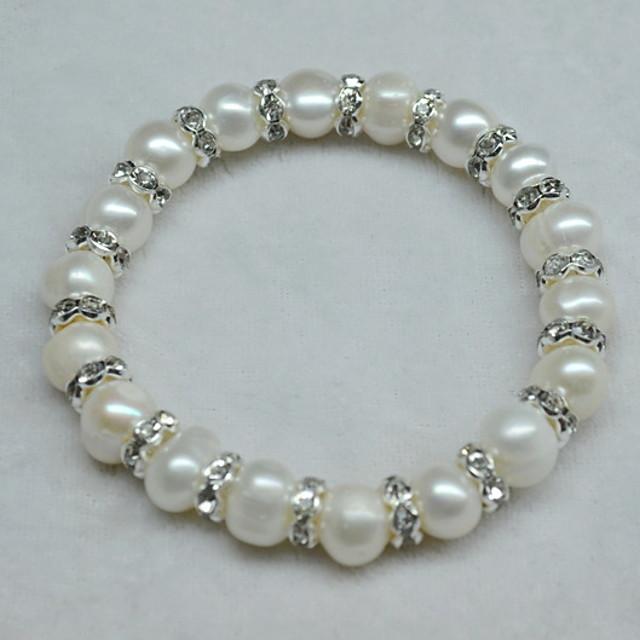 Women's White Bead Bracelet Beaded Lucky Blessed Fashion Rhinestone Bracelet Jewelry White For Wedding Daily Carnival Promise Festival