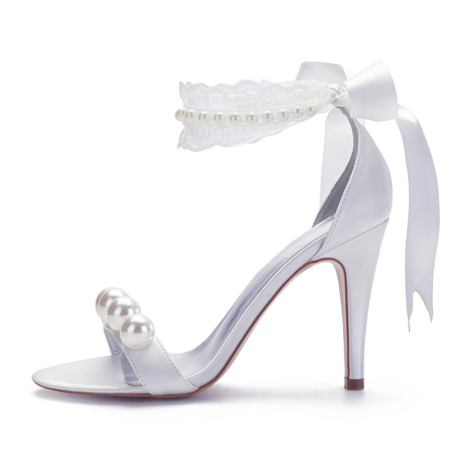 Women's Wedding Shoes Spring / Summer Pumps Open Toe Sexy Sweet Preppy Wedding Party & Evening Imitation Pearl / Lace / Lace-up Solid Colored Satin White / Ivory
