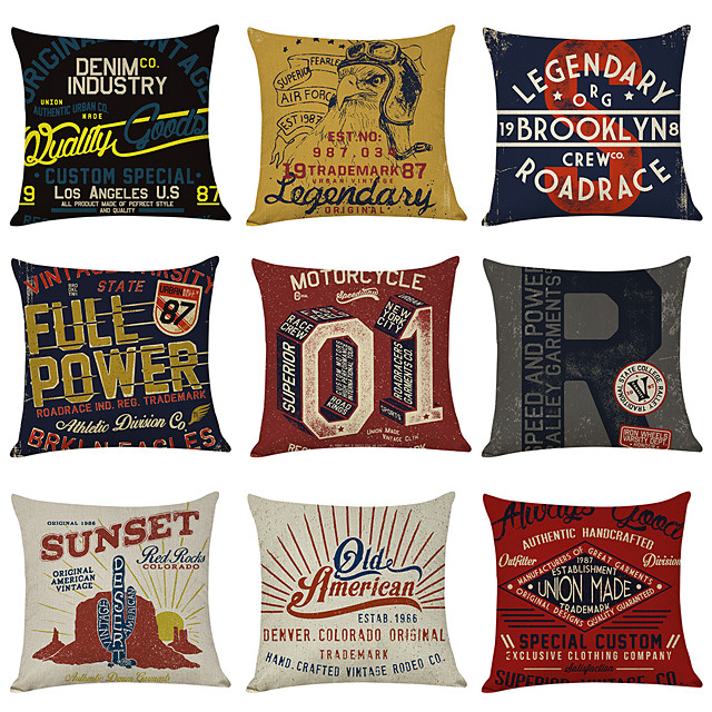 9 pcs Linen Pillow Cover, Vintage American Square Traditional Classic
