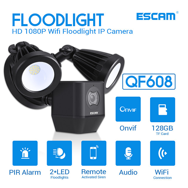 ESCAM QF608 1080P LED Floodlight WiFi IP Camera PIR Detection Alarm HD Security Two Way Talk Remote Siren Support ONVIF IP66