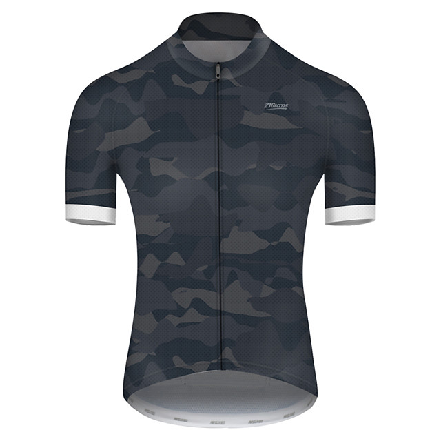 21Grams Men's Short Sleeve Cycling Jersey Nylon Polyester Camouflage Patchwork Camo / Camouflage Bike Jersey Top Mountain Bike MTB Road Bike Cycling Breathable Quick Dry Ultraviolet Resistant Sports