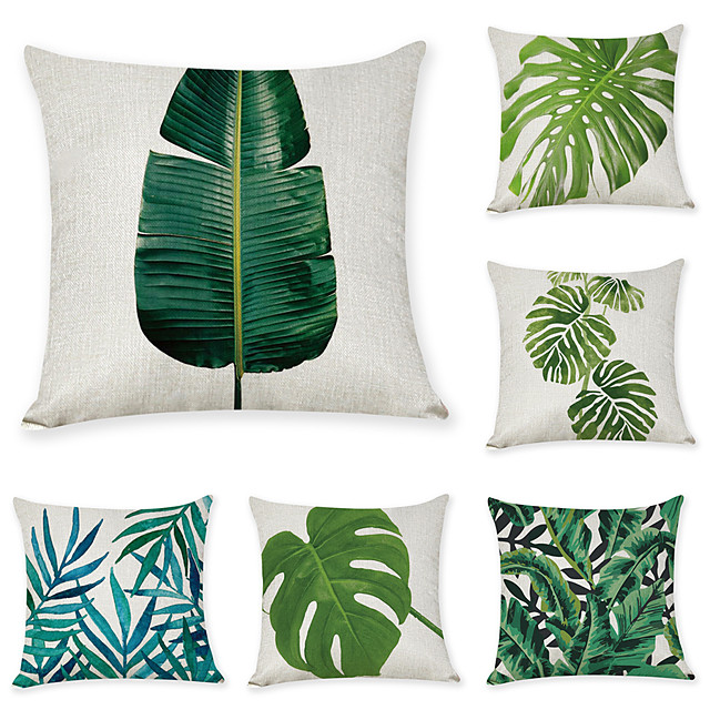 9 pcs Linen Pillow Cover, Leaf Casual Modern Square Traditional Classic