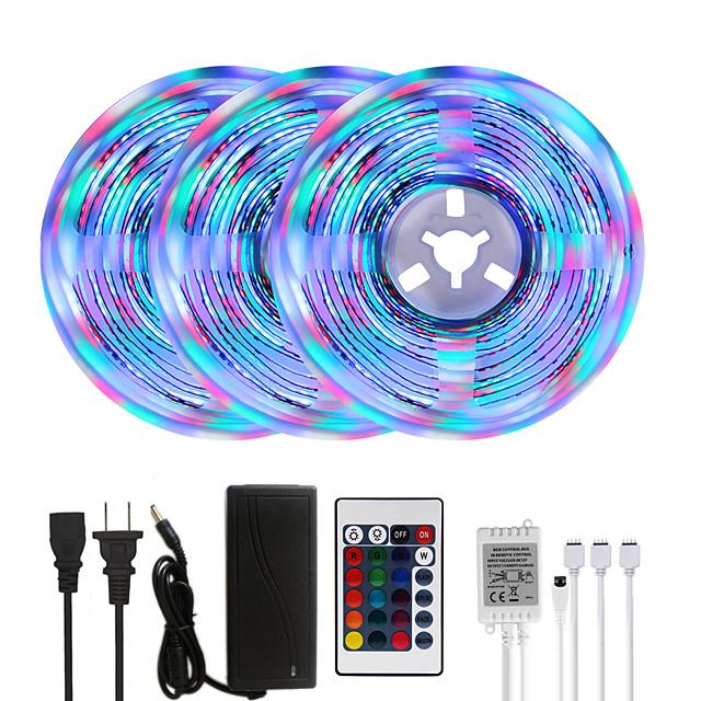 MASHANG Bright RGBW LED Strip Lights 15M(3*5M) RGBW Tiktok Lights 3510LEDs SMD 2835 with 24 Keys IR Remote Controller and 100-240V Adapter for Home Bedroom Kitchen TV Back Lights DIY Deco