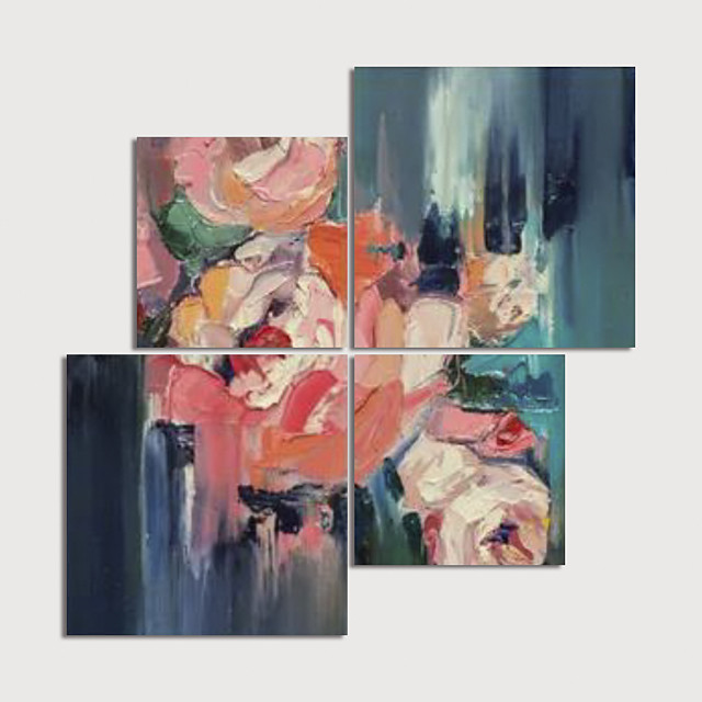 Hand Painted Canvas Oilpainting Abstract set of 4 Home Decoration with Frame Painting Ready to Hang