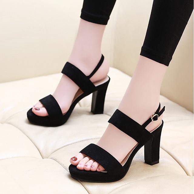 Women's Sandals Summer Block Heel Open Toe Daily Suede Almond / Black