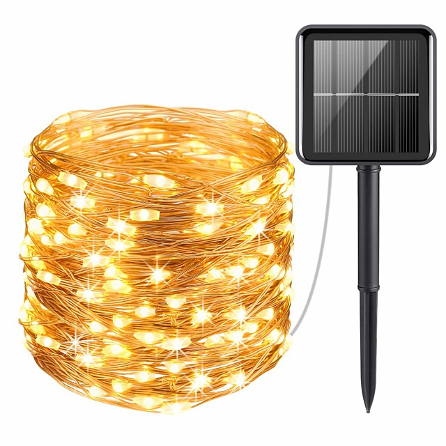 20M 200LEDs Solar LED String Lights Outdoor String Lights 8 Function Outdoor Waterproof Fairy Lights Garden Christmas Wedding Birthday Party Holiday  Decoration Light