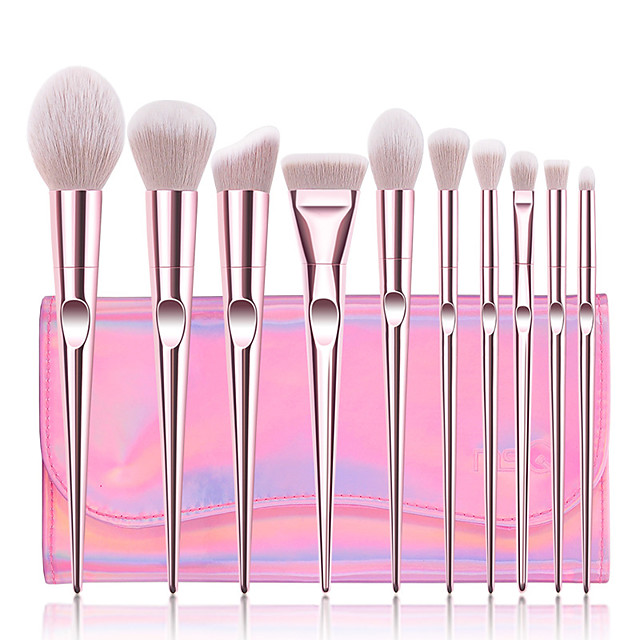 Professional Makeup Brushes 10pcs Professional Full Coverage Comfy Artificial Fibre Brush Plastic for Blush Brush Foundation Brush Makeup Brush Eyeshadow Brush