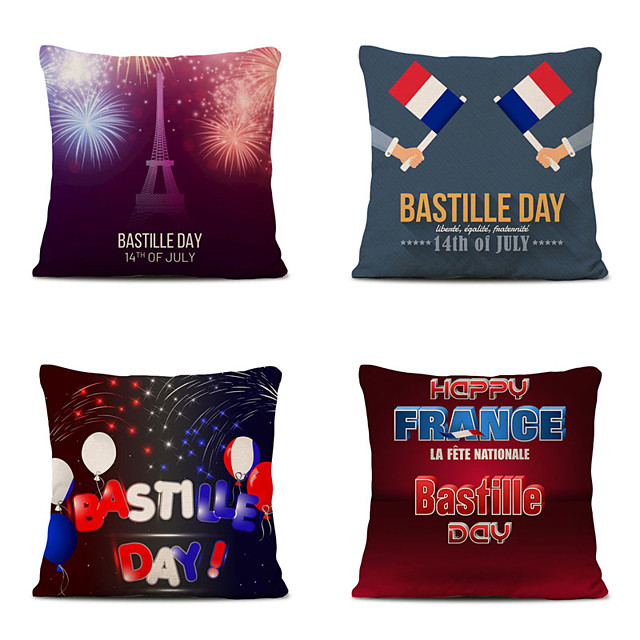 Set of 4 Home Cushion Cover Bastille Day Pillow Sofa Covers 45cmx45cm Bed Printed Pillow Case