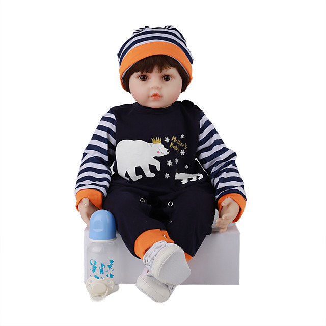 FeelWind 24 inch Reborn Doll Baby & Toddler Toy Reborn Toddler Doll Baby Boy Gift Cute Lovely Parent-Child Interaction Tipped and Sealed Nails Silicone Cotton Cloth LV063 with Clothes and Accessories