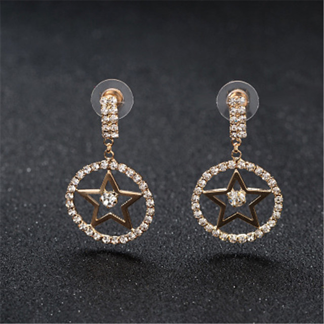 Women's Earrings Round Cut Star Stylish Korean Sweet Earrings Jewelry Rose Gold / Silver For Gift Daily Work 1 Pair