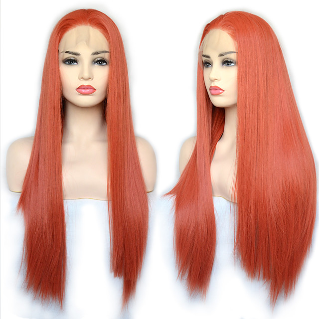 Synthetic Lace Front Wig Straight with Baby Hair Lace Front Wig Very Long Orange Synthetic Hair 22-26 inch Women's Cosplay Synthetic Easy dressing Red
