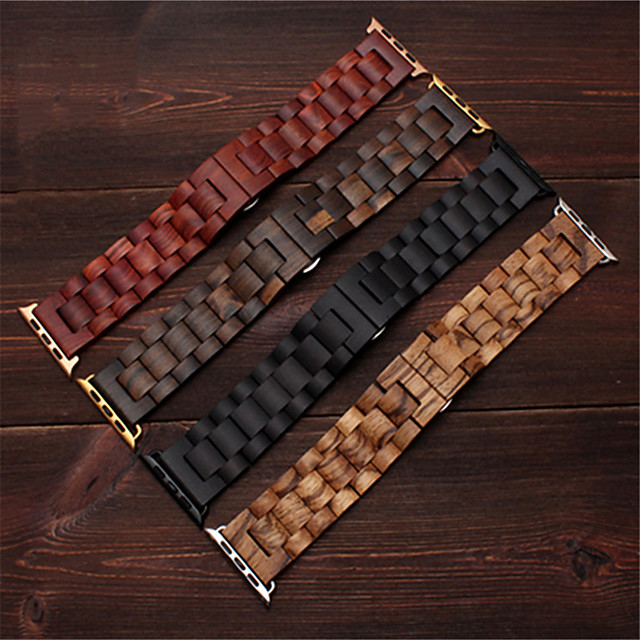 Bamboo Wood Apple  band 38 40 mm 42 44 mm for Apple watch5 4 3 2 1 ebony quality hook Series Wooden Band