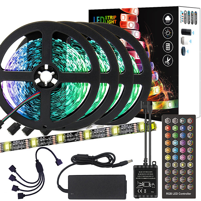 ZDM 20M(4*5M) High-Quality Black PCB Music Timing Synchronous Control Flexible Light Bar 5050 RGB  IR 40 Key Controller with12V 8A Adapter Kit