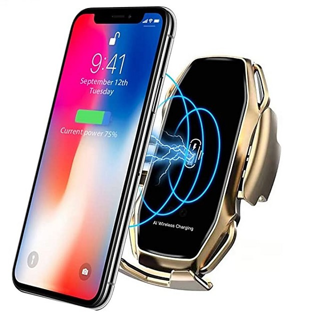 Smart Sensor Car Phone Holder Fast Charging Wireless Chargers Universal Car Holder Compatible iPhone 11/11 Pro/11 Pro Max/Xs MAX/XS/XR/X/8/8+ Samsung S10/S10+/S9/S9+/S8/S8+