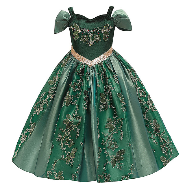 Princess Anna Flower Girl Dress Girls' Movie Cosplay A-Line Slip Green Dress Christmas Halloween Children's Day Polyester