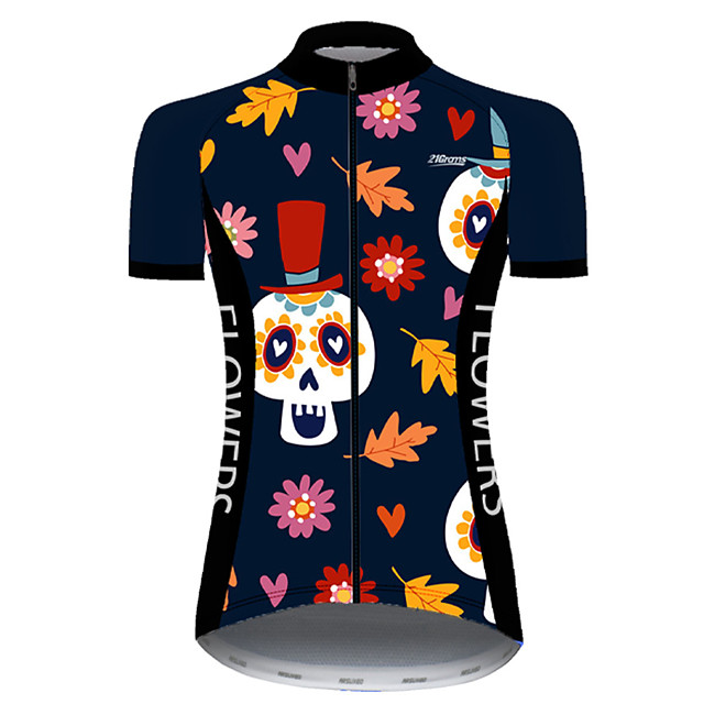 21Grams Women's Short Sleeve Cycling Jersey Nylon Polyester Black / Orange Skull Floral Botanical Funny Bike Jersey Top Mountain Bike MTB Road Bike Cycling Breathable Quick Dry Ultraviolet Resistant