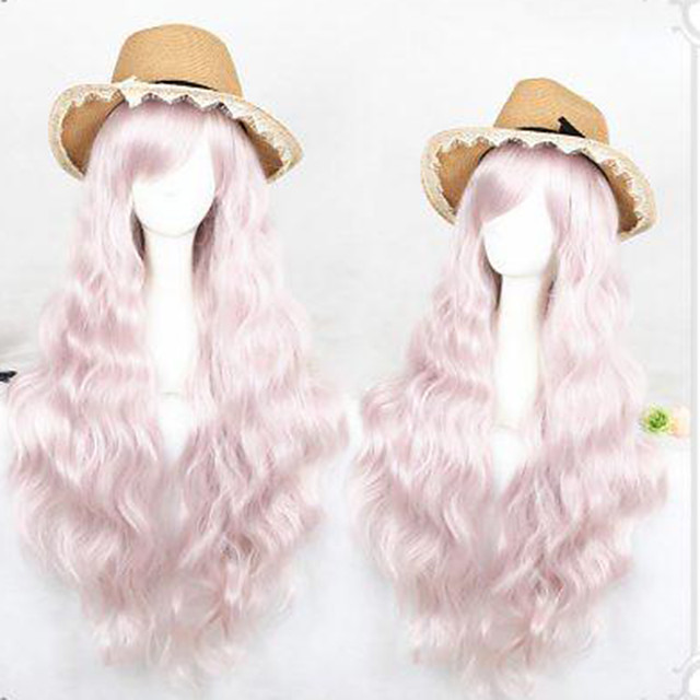 Cosplay Wig Lolita Curly Cosplay Halloween With Bangs Wig Long Pink Synthetic Hair 31 inch Women's Anime Cosplay Comfortable Pink