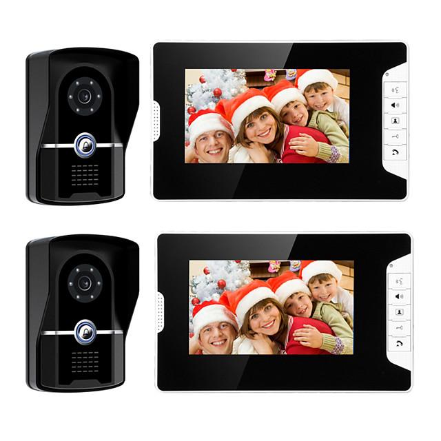 Wired 7 Inch Hands-free 800*480 Pixel Video Doorphone 2 Camera 2 Monitor Video intercom with Unlock function