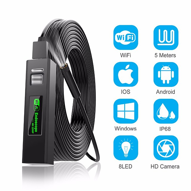1200P Endoscope Camera Wireless Endoscope 2.0 MP 1M 2M 5M HD Borescope Rigid Snake Cable for IOS iPhone Android Samsung Smartphone PC