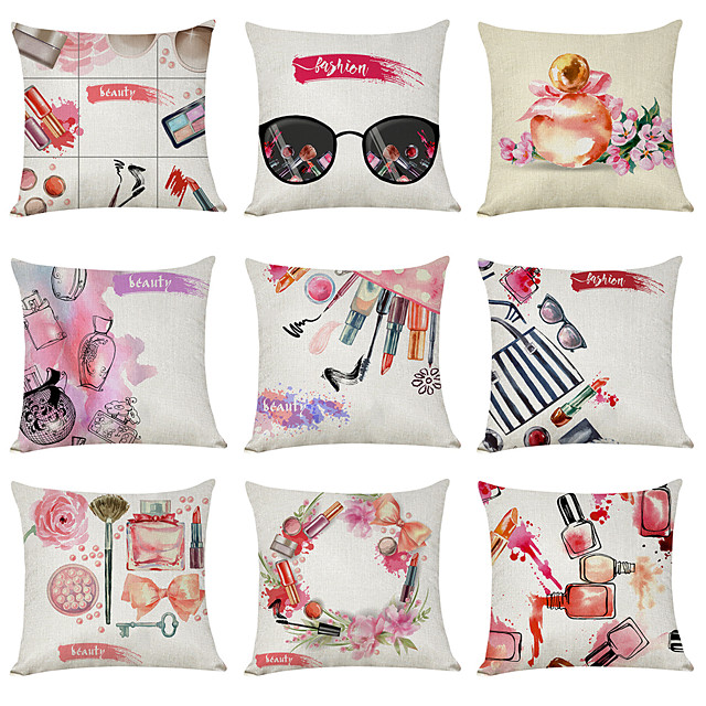 9 pcs Linen Pillow Cover, Fashion Beauty Modern Square Traditional Classic