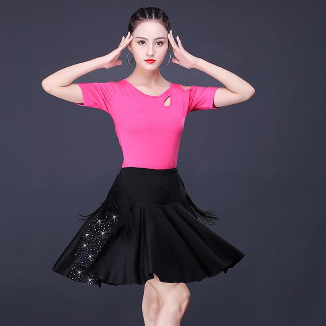 Latin Salsa Dance Skirts Tassel Crystals / Rhinestones Women's Training Performance Short Sleeve Natural Polyester