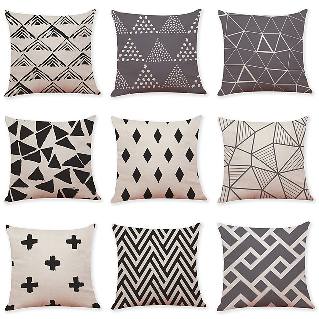 9 pcs Linen Pillow Cover, Grid Pattern Geometric Pattern Casual Modern Square Traditional Classic