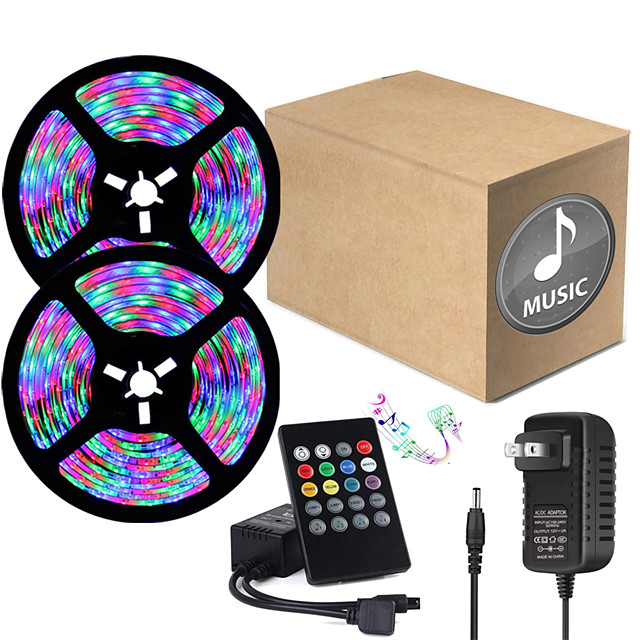 ZDM 32.8ft  2 x 5 Meter Music Synchronous Happy Multicolour Light Strip 2835 RGB LED Flexible Light Strip with 20 key IR Controller Optional with Adapter Kit DC12V