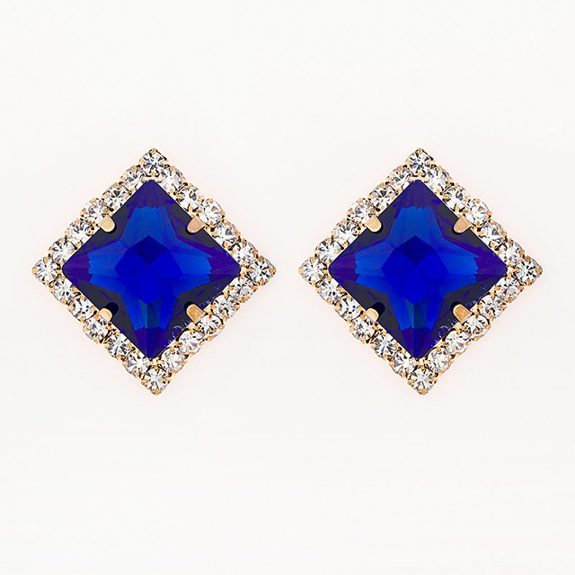 Women's AAA Cubic Zirconia Earrings Princess Square Mini Stylish Luxury Gold Plated Earrings Jewelry Blue For Wedding Daily 1 Pair