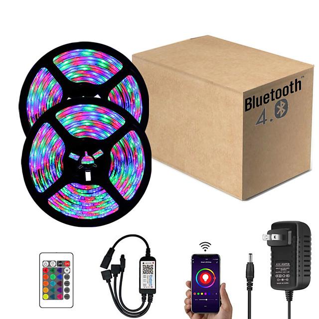 ZDM 10M (2*5M) App Intelligent Control Bluetooth Music Sync Flexible Led Strip Lights 2835 RGB SMD 540 LEDs IR 24 Key Bluetooth Controller with 12V 2A Adapter Kit