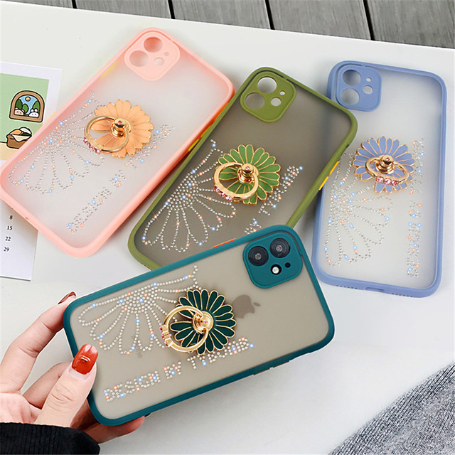 Glitter Flower Phone Case for Iphone 11 11Pro X XR XSMax  11 Pro Max 7Plus  8 Plus SE 2020 8 7 Cover with Holder Ring