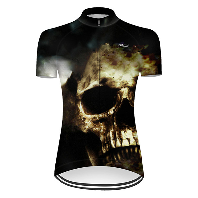 21Grams Women's Short Sleeve Cycling Jersey Nylon Polyester Black / White Patchwork Novelty Skull Bike Jersey Top Mountain Bike MTB Road Bike Cycling Breathable Quick Dry Ultraviolet Resistant Sports