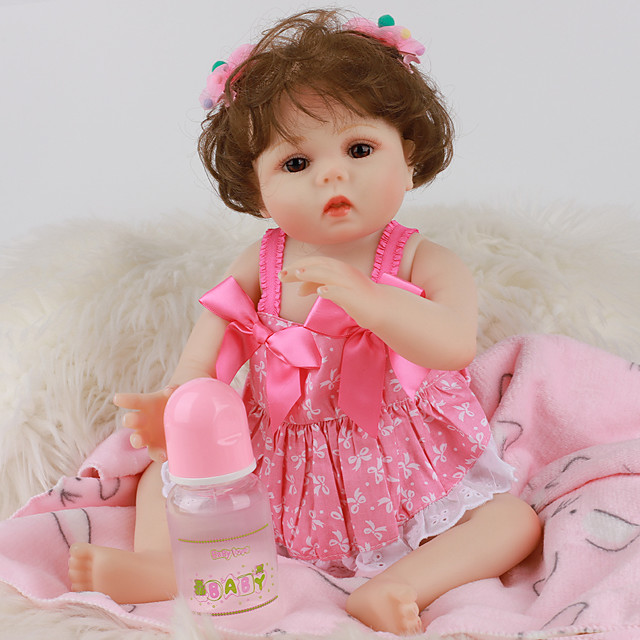 FeelWind 18 inch Reborn Doll Baby & Toddler Toy Reborn Toddler Doll Baby Girl Gift Cute Lovely Parent-Child Interaction Tipped and Sealed Nails Full Body Silicone LV019 with Clothes and Accessories