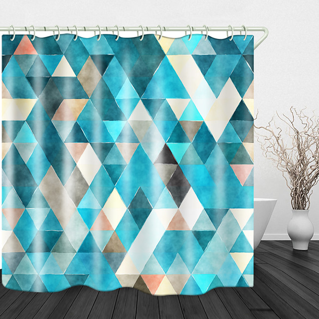 Rhombus Colorful Digital Print Waterproof Fabric Shower Curtain for Bathroom Home Decor Covered Bathtub Curtains Liner Includes with Hooks