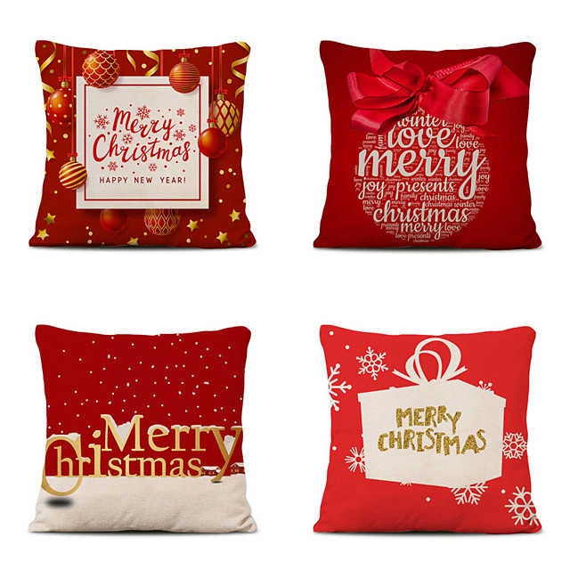 4 pcs Cotton Polyester Pillow Cover, Christmas Classic Square Polyester Traditional Classic