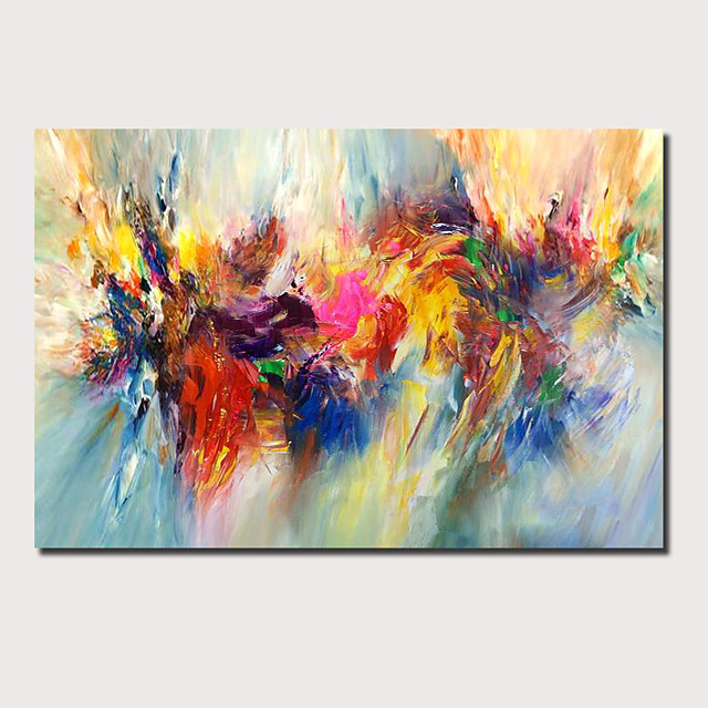 Oil Painting Hand Painted Horizontal Panoramic Abstract Floral / Botanical Comtemporary Modern Stretched Canvas
