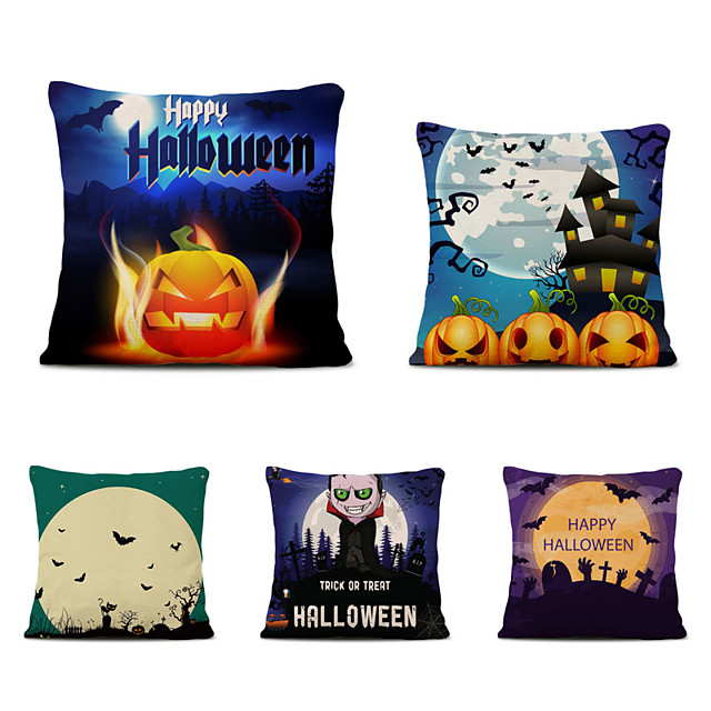 Set of 5 Throw Pillow Simple Classic 45*45 cm Polyester Pillow Cover Special Design Halloween Square Traditional Classic